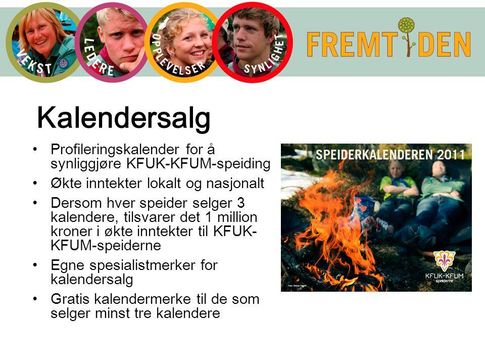 Kalendersalg Profileringskalender for å synliggjøre KFUK-KFUM-speiding Økte inntekter lokalt og nasjonalt Dersom hver speider selger 3 kalendere, tils