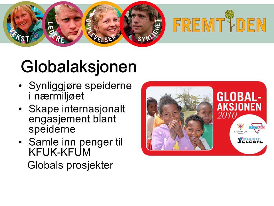 Globalaksjonen Synliggjøre speiderne i nærmiljøet Skape internasjonalt engasjement blant speiderne Samle inn penger til KFUK-KFUM Globals prosjekter