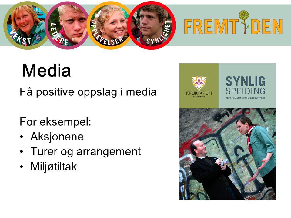 Få positive oppslag i media For eksempel: Aksjonene Turer og arrangement Miljøtiltak Media