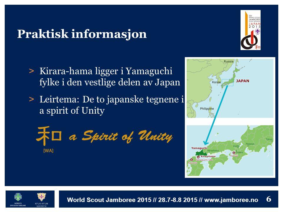 6 World Scout Jamboree 2015 // 28.7-8.8 2015 // www.jamboree.no Praktisk informasjon > Kirara-hama ligger i Yamaguchi fylke i den vestlige delen av Ja