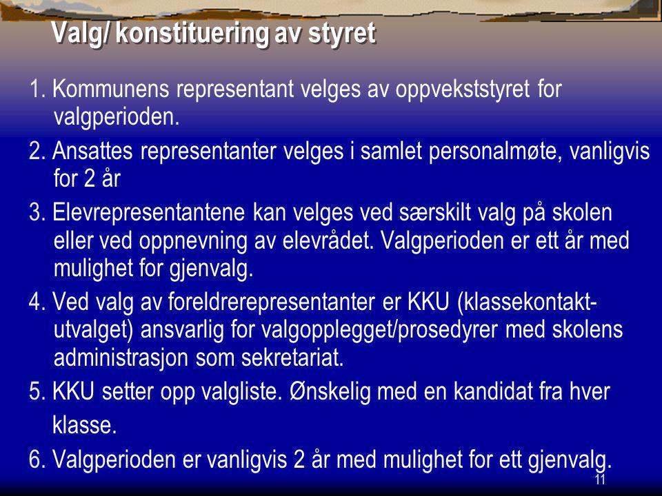 12 Valg/ konstituering av styret Forts.7. Valg skjer vanligvis ved personlig frammøte.