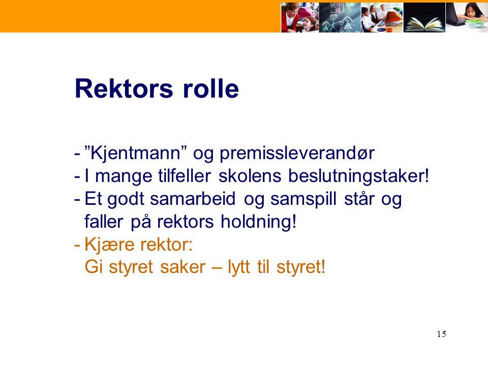 """15 Rektors rolle -""""Kjentmann"""" og premissleverandør -I mange tilfeller skolens beslutningstaker! -Et godt samarbeid og samspill står og faller på rekto"""