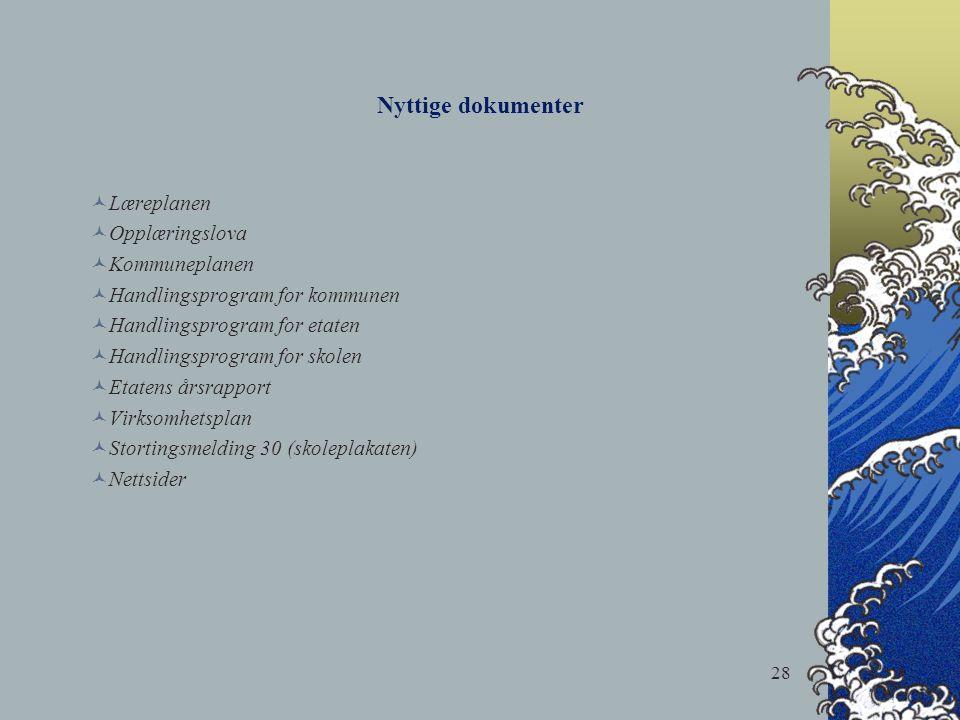 28 Nyttige dokumenter Læreplanen Opplæringslova Kommuneplanen Handlingsprogram for kommunen Handlingsprogram for etaten Handlingsprogram for skolen Et