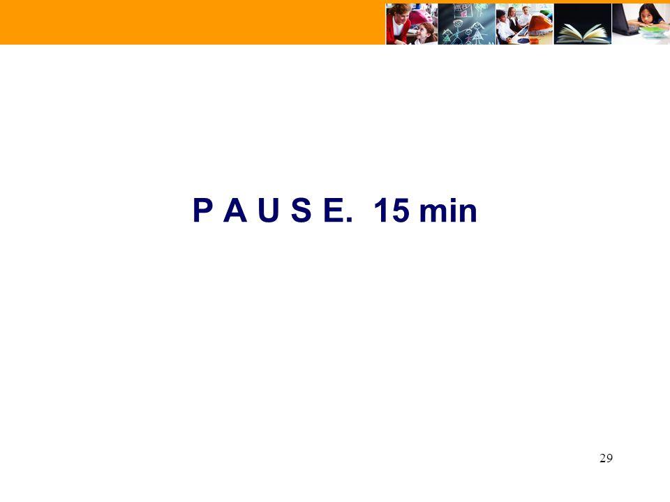 29 P A U S E. 15 min