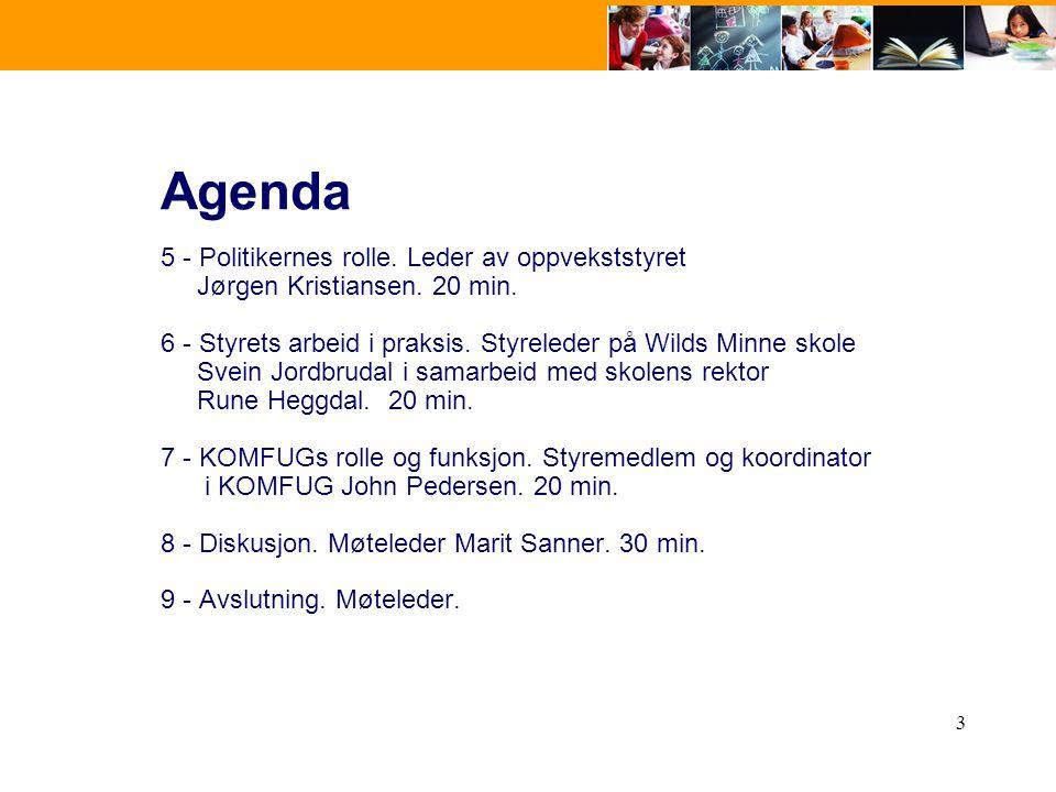 3 Agenda 5 - Politikernes rolle. Leder av oppvekststyret Jørgen Kristiansen. 20 min. 6 - Styrets arbeid i praksis. Styreleder på Wilds Minne skole Sve