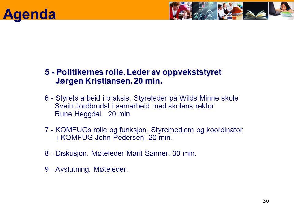 30 Agenda 5 - Politikernes rolle. Leder av oppvekststyret Jørgen Kristiansen. 20 min. 6 - Styrets arbeid i praksis. Styreleder på Wilds Minne skole Sv