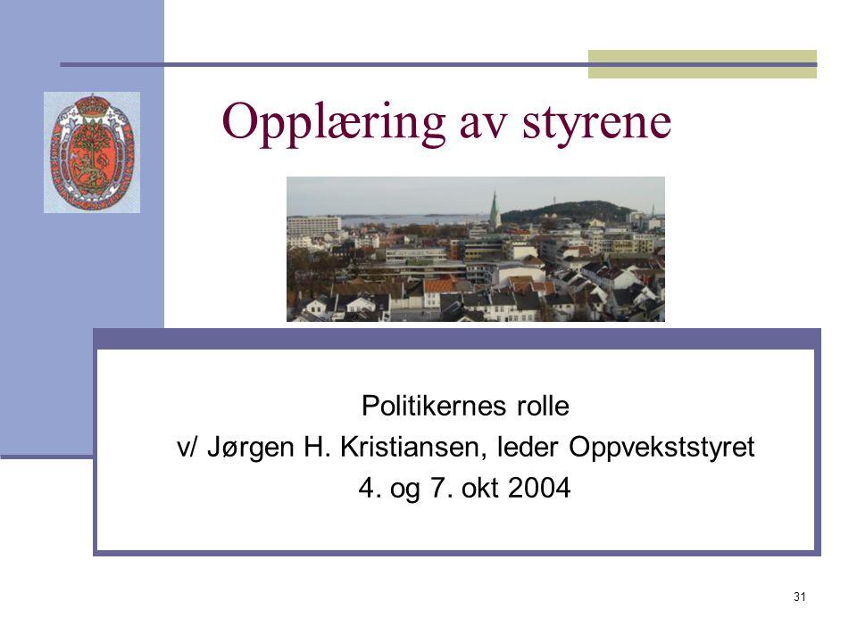 31 Opplæring av styrene Politikernes rolle v/ Jørgen H. Kristiansen, leder Oppvekststyret 4. og 7. okt 2004