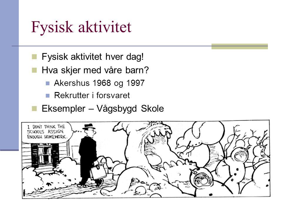 42 Fysisk aktivitet Fysisk aktivitet hver dag! Hva skjer med våre barn? Akershus 1968 og 1997 Rekrutter i forsvaret Eksempler – Vågsbygd Skole