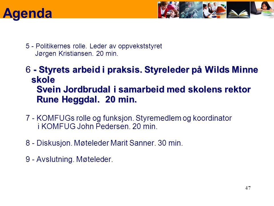47 Agenda 5 - Politikernes rolle. Leder av oppvekststyret Jørgen Kristiansen. 20 min. - Styrets arbeid i praksis. Styreleder på Wilds Minne skole Svei