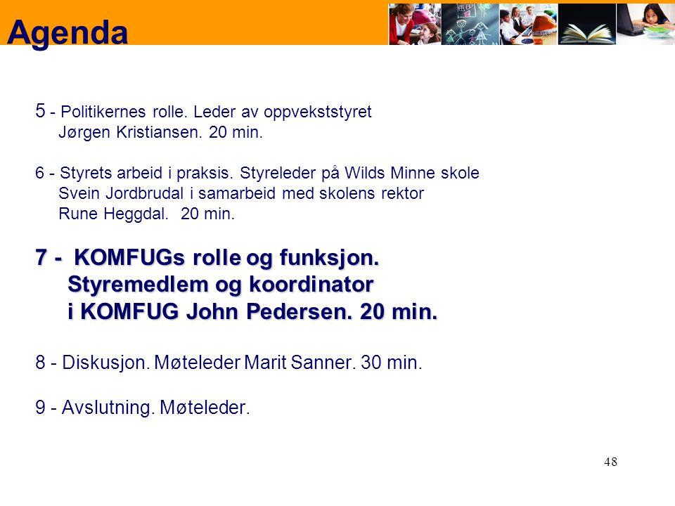 48 Agenda 5 - Politikernes rolle. Leder av oppvekststyret Jørgen Kristiansen. 20 min. 6 - Styrets arbeid i praksis. Styreleder på Wilds Minne skole Sv