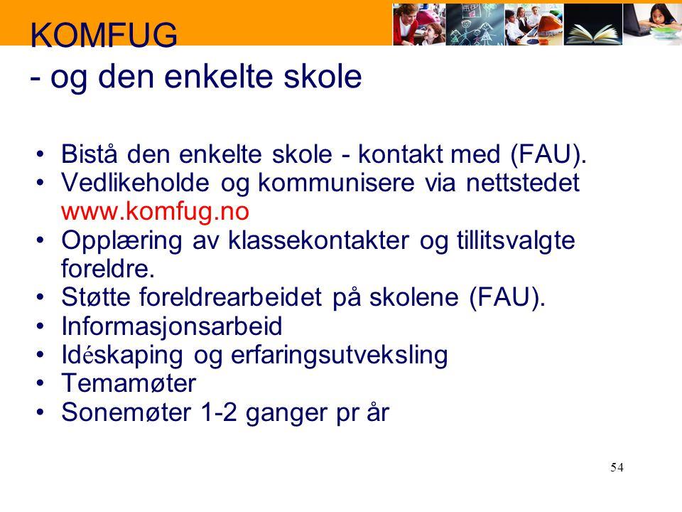 54 KOMFUG - og den enkelte skole Bistå den enkelte skole - kontakt med (FAU). Vedlikeholde og kommunisere via nettstedet www.komfug.no Opplæring av kl