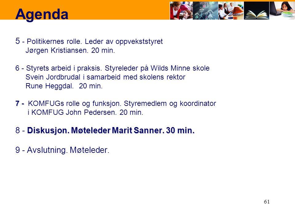61 Agenda 5 - Politikernes rolle. Leder av oppvekststyret Jørgen Kristiansen. 20 min. 6 - Styrets arbeid i praksis. Styreleder på Wilds Minne skole Sv