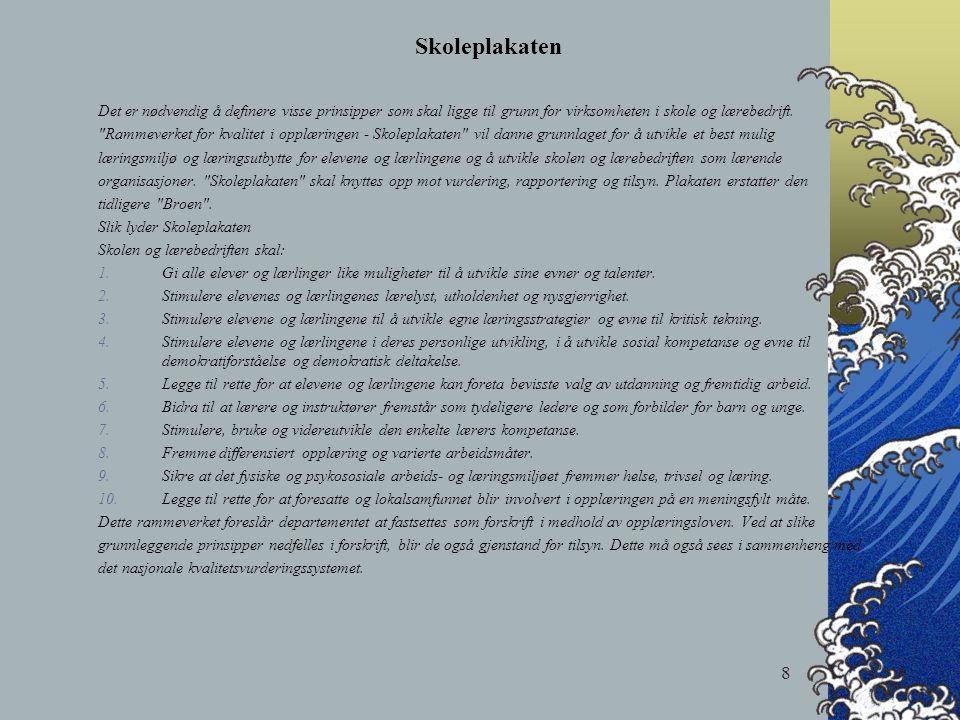 8 Skoleplakaten Det er nødvendig å definere visse prinsipper som skal ligge til grunn for virksomheten i skole og lærebedrift.