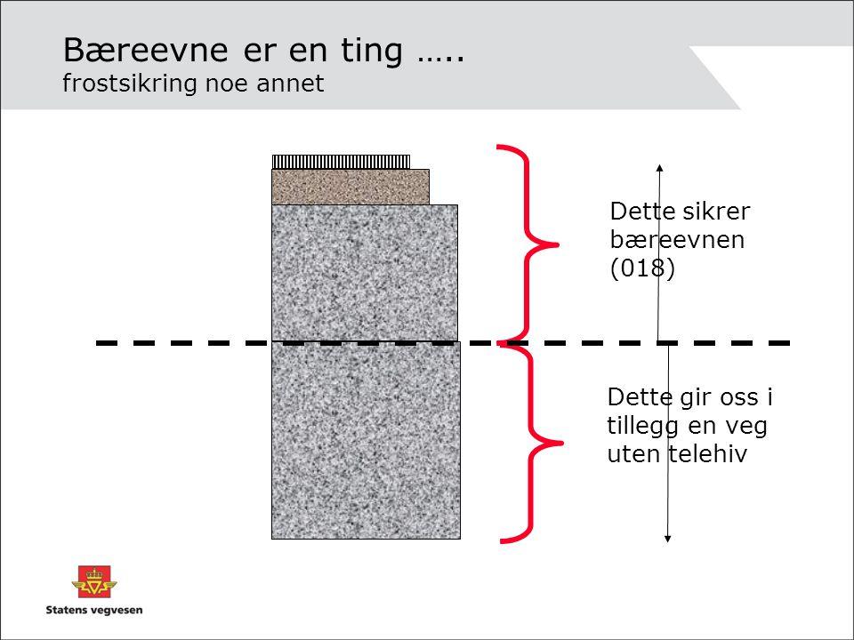 Bæreevne er en ting ….. frostsikring noe annet Dette sikrer bæreevnen (018) Dette gir oss i tillegg en veg uten telehiv