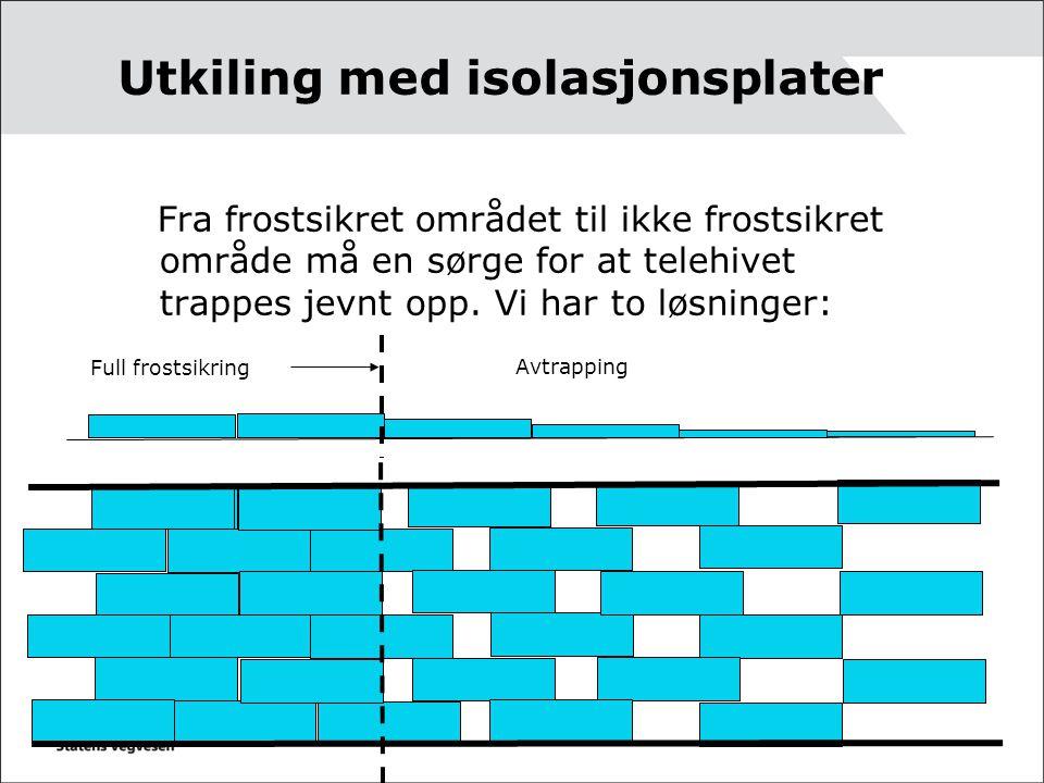 Utkiling med isolasjonsplater Fra frostsikret området til ikke frostsikret område må en sørge for at telehivet trappes jevnt opp. Vi har to løsninger: