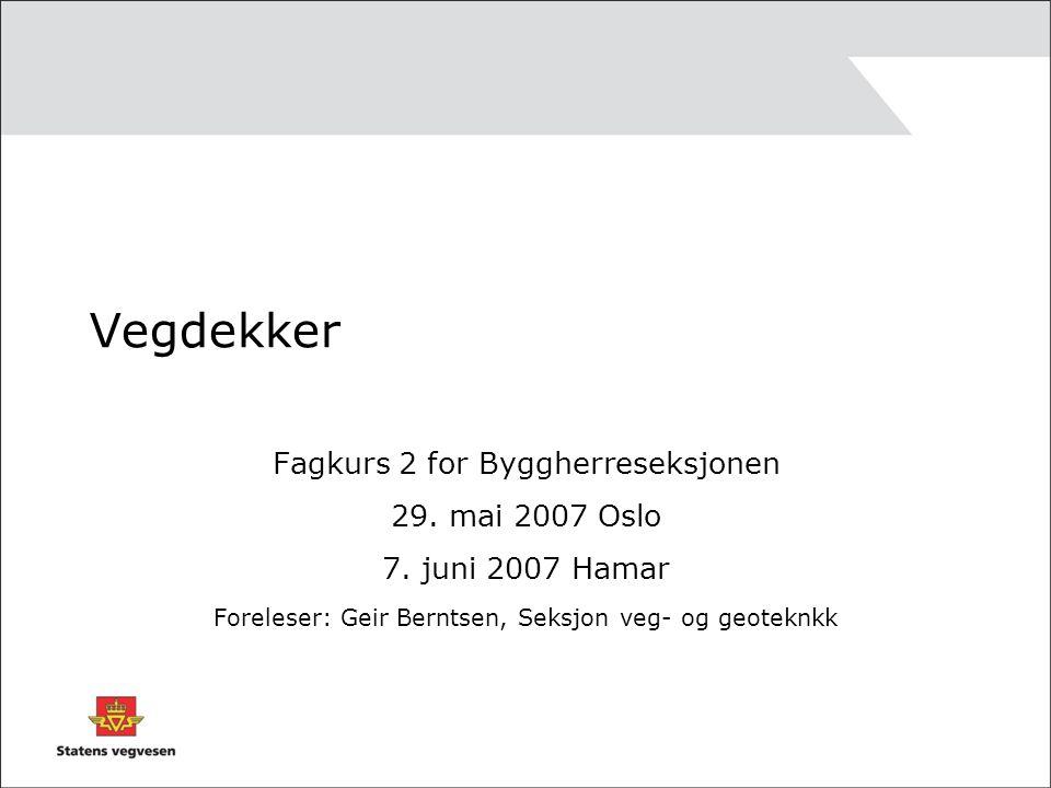 Vegdekker Fagkurs 2 for Byggherreseksjonen 29. mai 2007 Oslo 7. juni 2007 Hamar Foreleser: Geir Berntsen, Seksjon veg- og geoteknkk