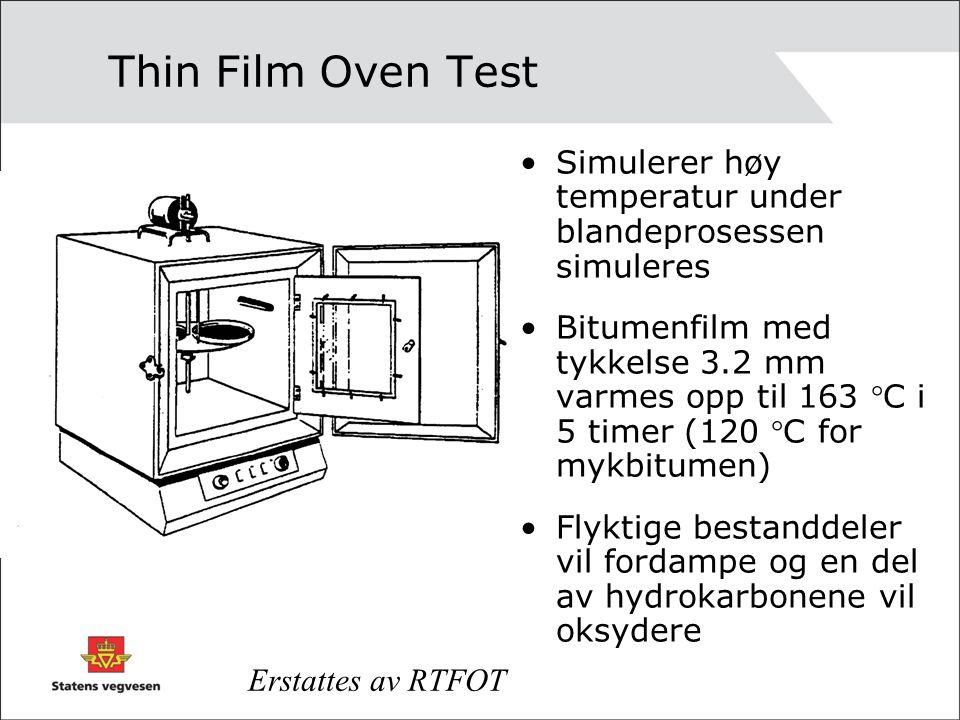 Thin Film Oven Test Simulerer høy temperatur under blandeprosessen simuleres Bitumenfilm med tykkelse 3.2 mm varmes opp til 163 C i 5 timer (120 C for mykbitumen) Flyktige bestanddeler vil fordampe og en del av hydrokarbonene vil oksydere Erstattes av RTFOT