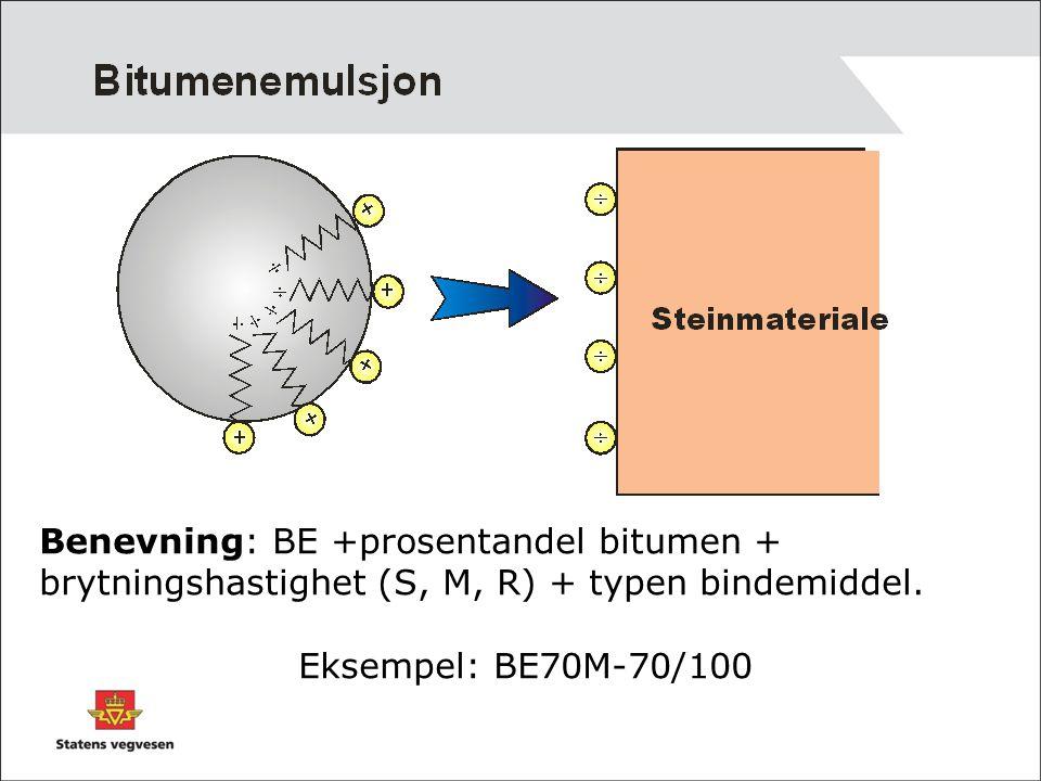 Benevning: BE +prosentandel bitumen + brytningshastighet (S, M, R) + typen bindemiddel. Eksempel: BE70M-70/100