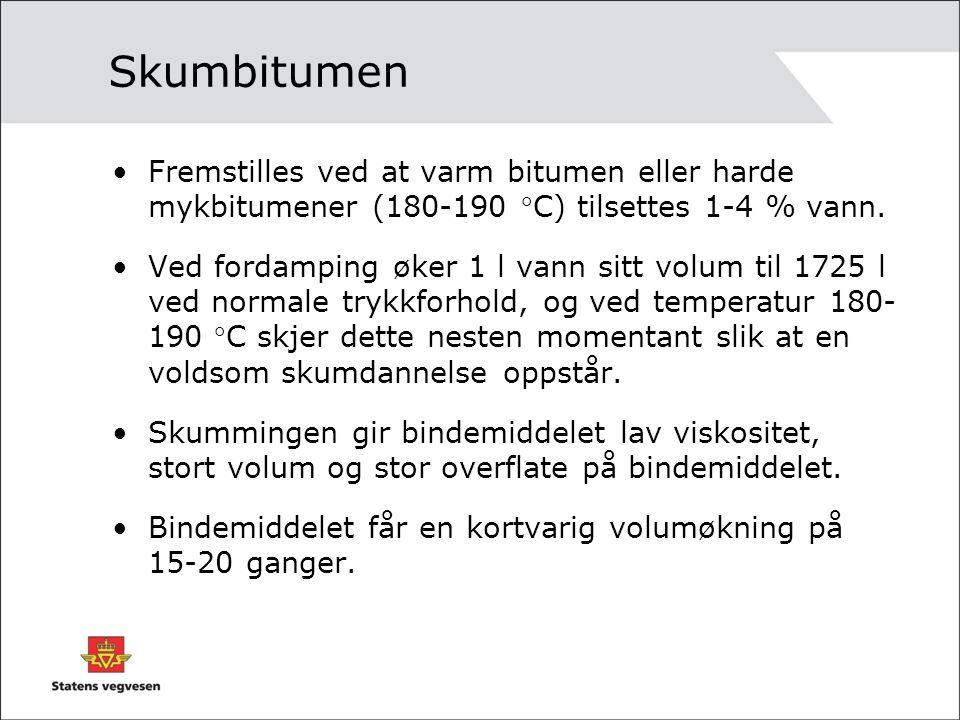 Skumbitumen Fremstilles ved at varm bitumen eller harde mykbitumener (180-190 C) tilsettes 1-4 % vann. Ved fordamping øker 1 l vann sitt volum til 17