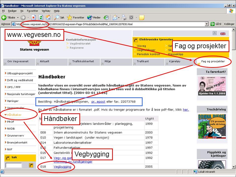 www.vegvesen.no Håndbøker Fag og prosjekter Vegbygging