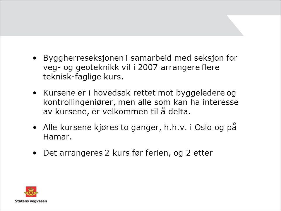 Tema for kursene er: Kurs 1 Oslo 10.april 2007 og Hamar 24.