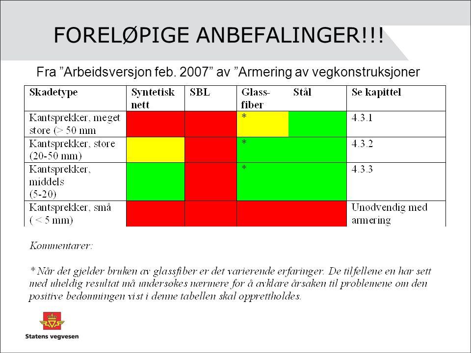 """FORELØPIGE ANBEFALINGER!!! Fra """"Arbeidsversjon feb. 2007"""" av """"Armering av vegkonstruksjoner"""
