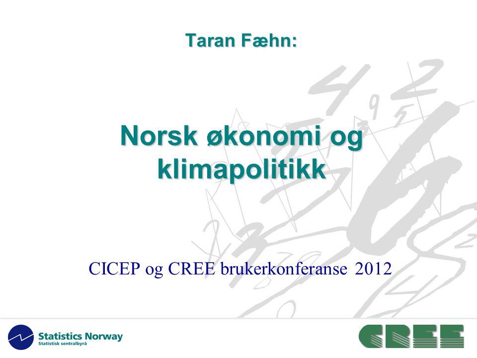 Taran Fæhn: Norsk økonomi og klimapolitikk CICEP og CREE brukerkonferanse 2012
