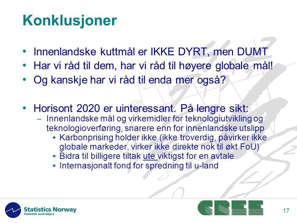 17 Konklusjoner Innenlandske kuttmål er IKKE DYRT, men DUMT Har vi råd til dem, har vi råd til høyere globale mål.