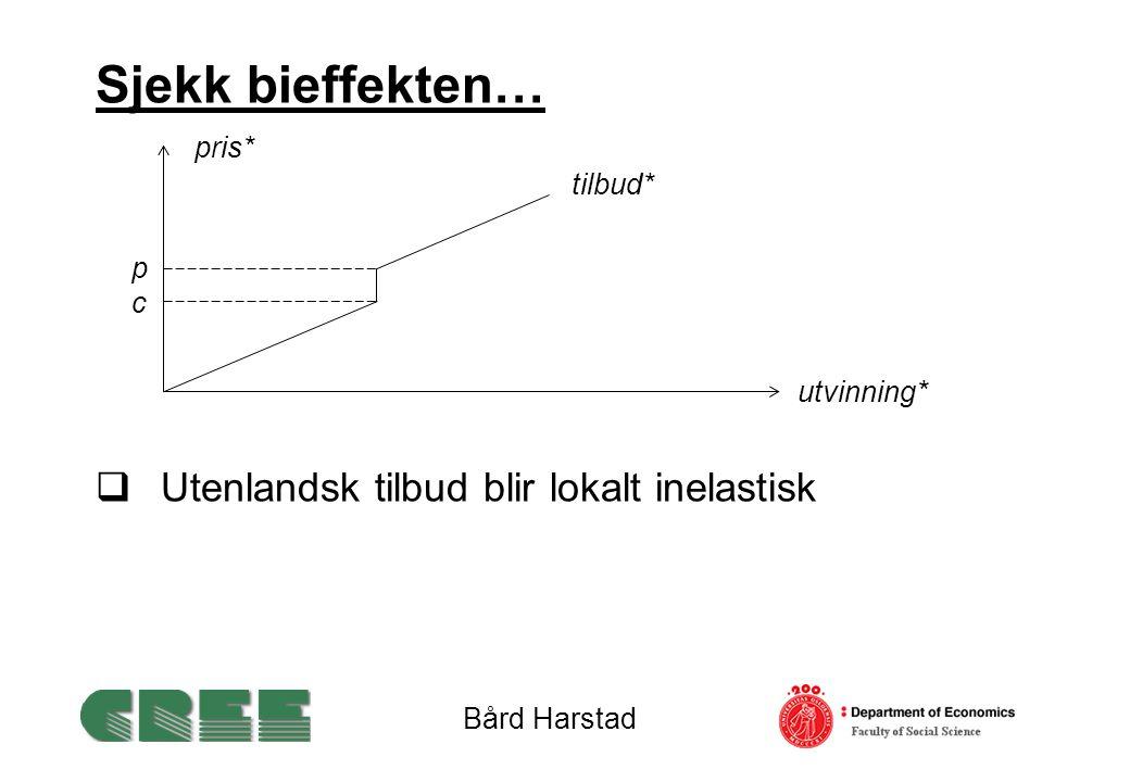 Sjekk bieffekten…  Utenlandsk tilbud blir lokalt inelastisk Bård Harstad utvinning* tilbud* pris* pcpc