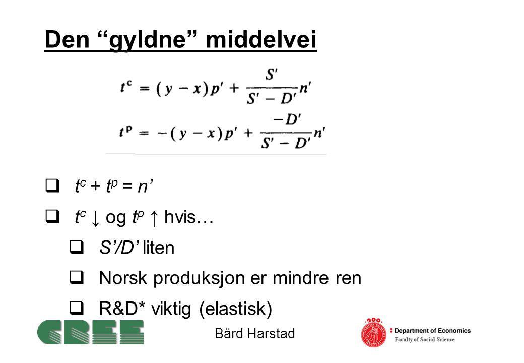 Den gyldne middelvei  t c + t p = n'  t c ↓ og t p ↑ hvis…  S'/D' liten  Norsk produksjon er mindre ren  R&D* viktig (elastisk) Bård Harstad