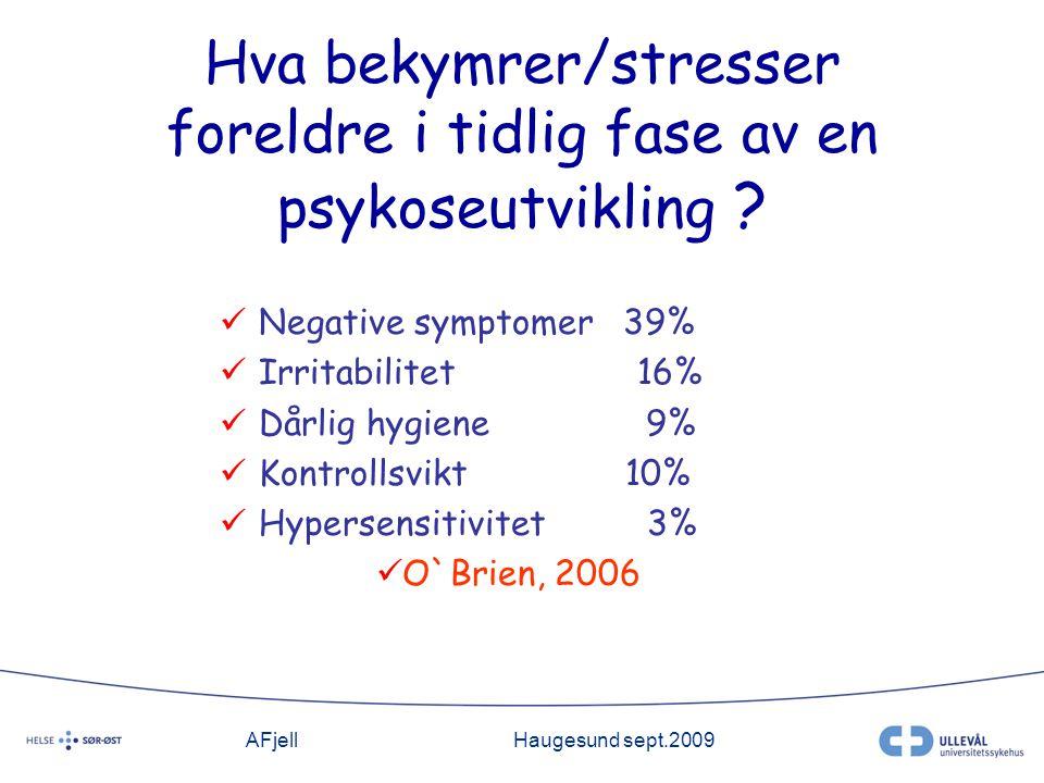 AFjellHaugesund sept.2009 Hva bekymrer/stresser foreldre i tidlig fase av en psykoseutvikling .