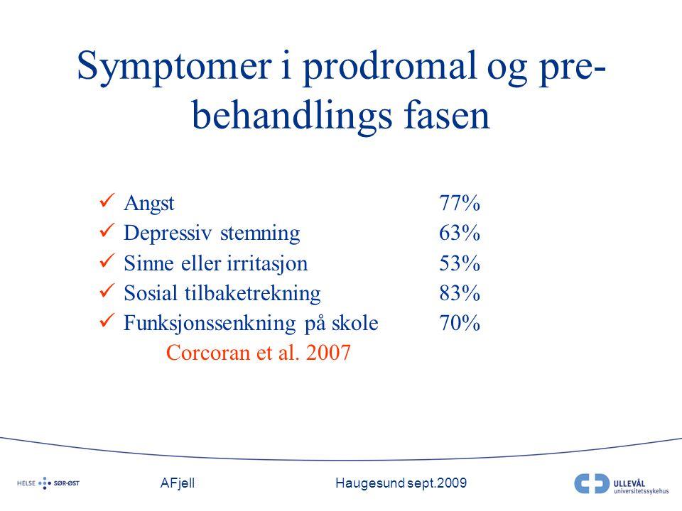 AFjellHaugesund sept.2009 Symptomer i prodromal og pre- behandlings fasen Angst77% Depressiv stemning63% Sinne eller irritasjon53% Sosial tilbaketrekning83% Funksjonssenkning på skole 70% Corcoran et al.