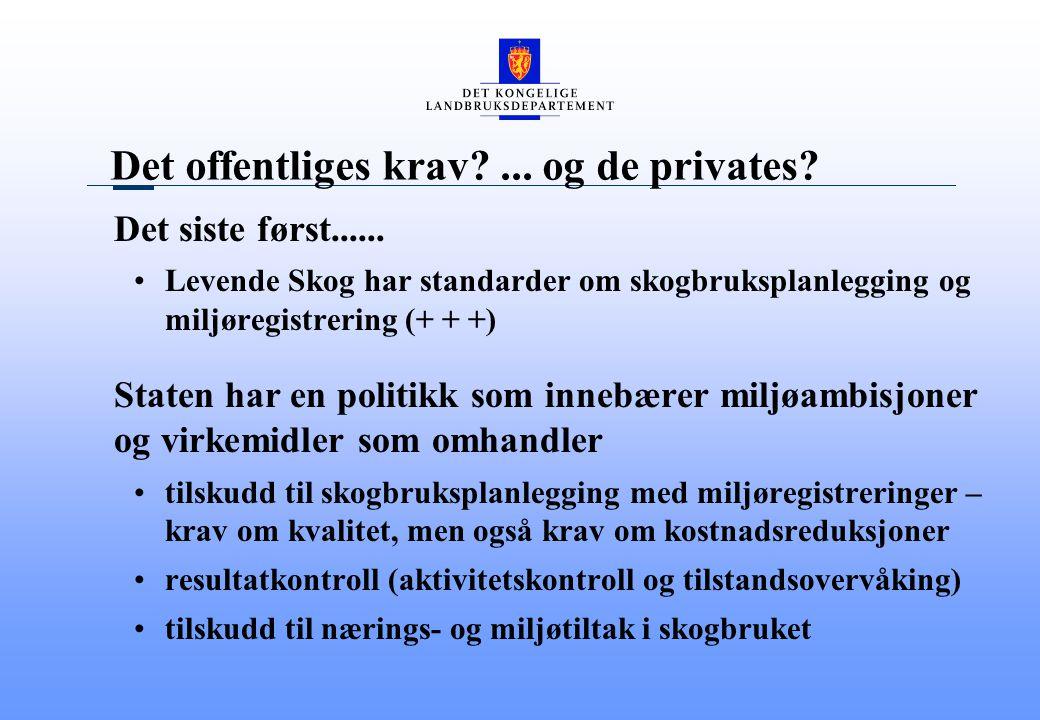 Det offentliges krav ... og de privates. Det siste først......