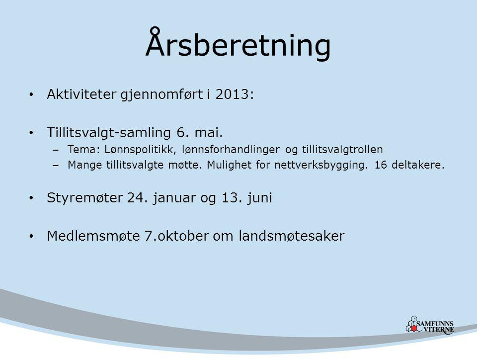 Årsberetning Aktiviteter gjennomført i 2013: Tillitsvalgt-samling 6.
