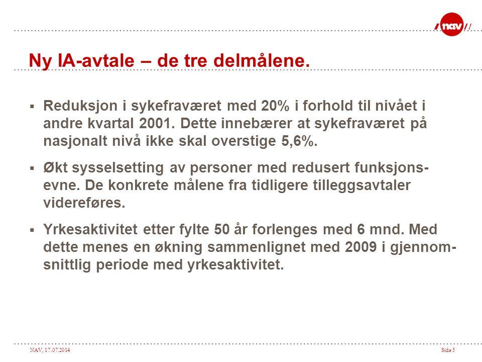 NAV, 17.07.2014Side 5 Ny IA-avtale – de tre delmålene.