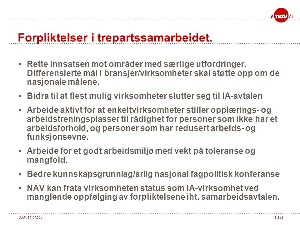 NAV, 17.07.2014Side 6 Forpliktelser i trepartssamarbeidet.