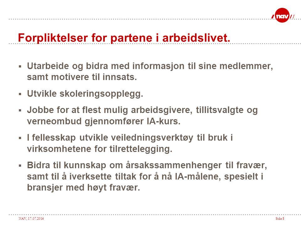 NAV, 17.07.2014Side 8 Forpliktelser for partene i arbeidslivet.