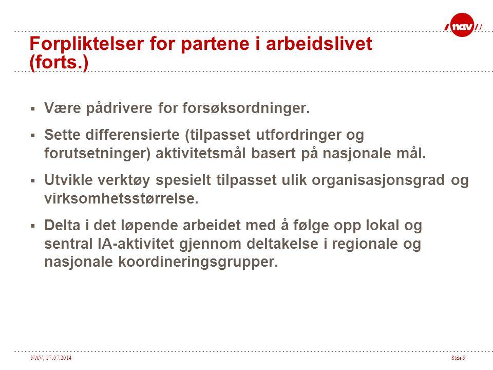 NAV, 17.07.2014Side 9 Forpliktelser for partene i arbeidslivet (forts.)  Være pådrivere for forsøksordninger.