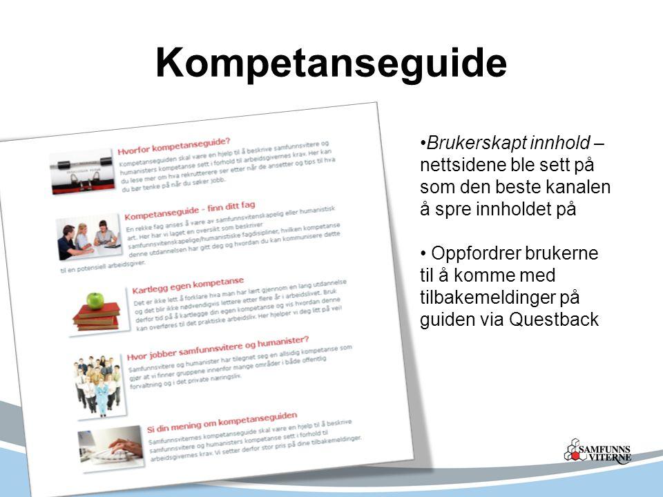 Kompetanseguide Brukerskapt innhold – nettsidene ble sett på som den beste kanalen å spre innholdet på Oppfordrer brukerne til å komme med tilbakemeldinger på guiden via Questback