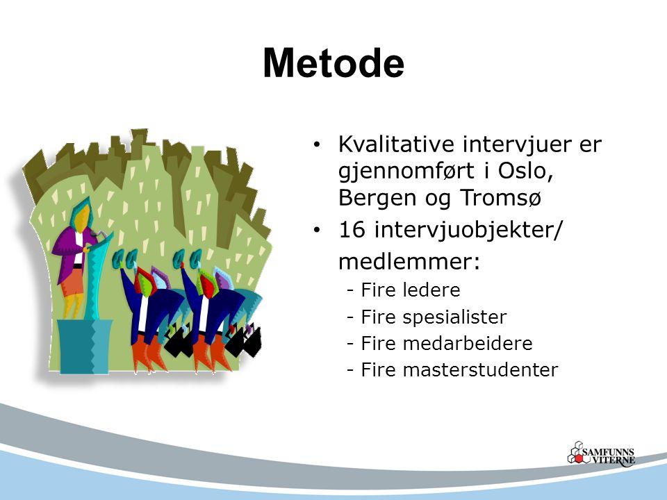 Metode Kvalitative intervjuer er gjennomført i Oslo, Bergen og Tromsø 16 intervjuobjekter/ medlemmer: - Fire ledere - Fire spesialister - Fire medarbeidere - Fire masterstudenter