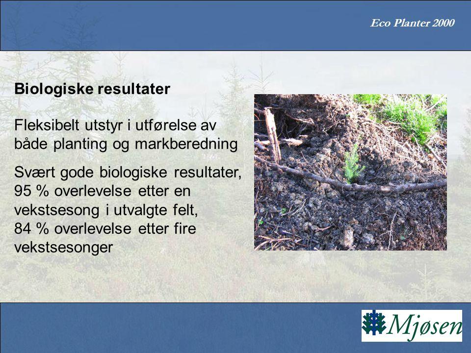 Eco Planter 2000 Biologiske resultater Fleksibelt utstyr i utførelse av både planting og markberedning Svært gode biologiske resultater, 95 % overlevelse etter en vekstsesong i utvalgte felt, 84 % overlevelse etter fire vekstsesonger