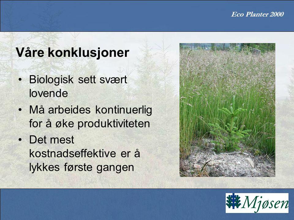 Eco Planter 2000 Våre konklusjoner Biologisk sett svært lovende Må arbeides kontinuerlig for å øke produktiviteten Det mest kostnadseffektive er å lykkes første gangen