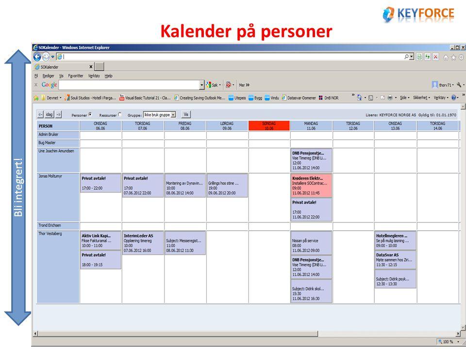 Kalender på personer Bli integrert!