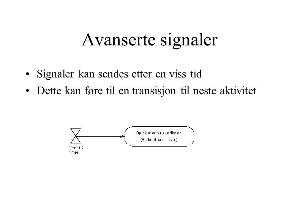 Avanserte signaler Signaler kan sendes etter en viss tid Dette kan føre til en transisjon til neste aktivitet