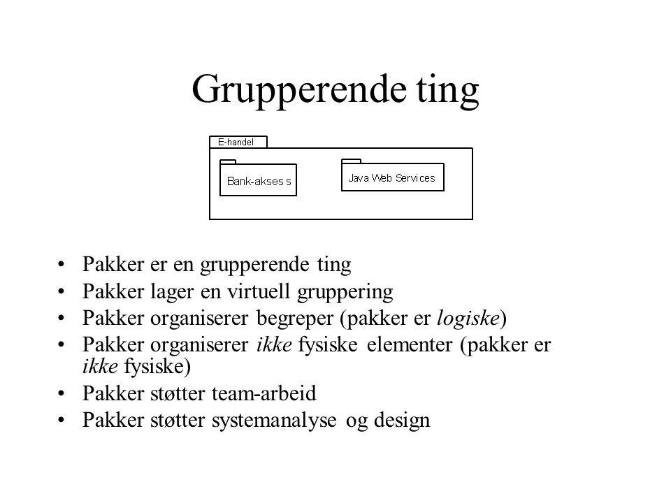 Grupperende ting Pakker er en grupperende ting Pakker lager en virtuell gruppering Pakker organiserer begreper (pakker er logiske) Pakker organiserer ikke fysiske elementer (pakker er ikke fysiske) Pakker støtter team-arbeid Pakker støtter systemanalyse og design