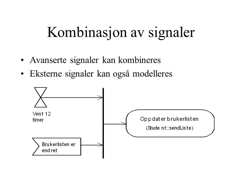 Kombinasjon av signaler Avanserte signaler kan kombineres Eksterne signaler kan også modelleres