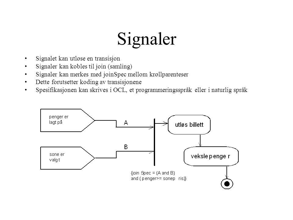 Signaler Signalet kan utløse en transisjon Signaler kan kobles til join (samling) Signaler kan merkes med joinSpec mellom krøllparenteser Dette forutsetter koding av transisjonene Spesifikasjonen kan skrives i OCL, et programmeringsspråk eller i naturlig språk