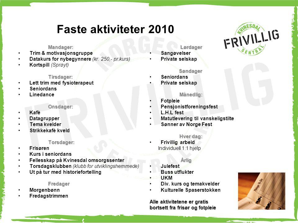 Faste aktiviteter 2010 Mandager: Trim & motivasjonsgruppe Datakurs for nybegynnere (kr. 250,- pr.kurs) Kortspill (Sprøyt)Tirsdager: Lett trim med fysi