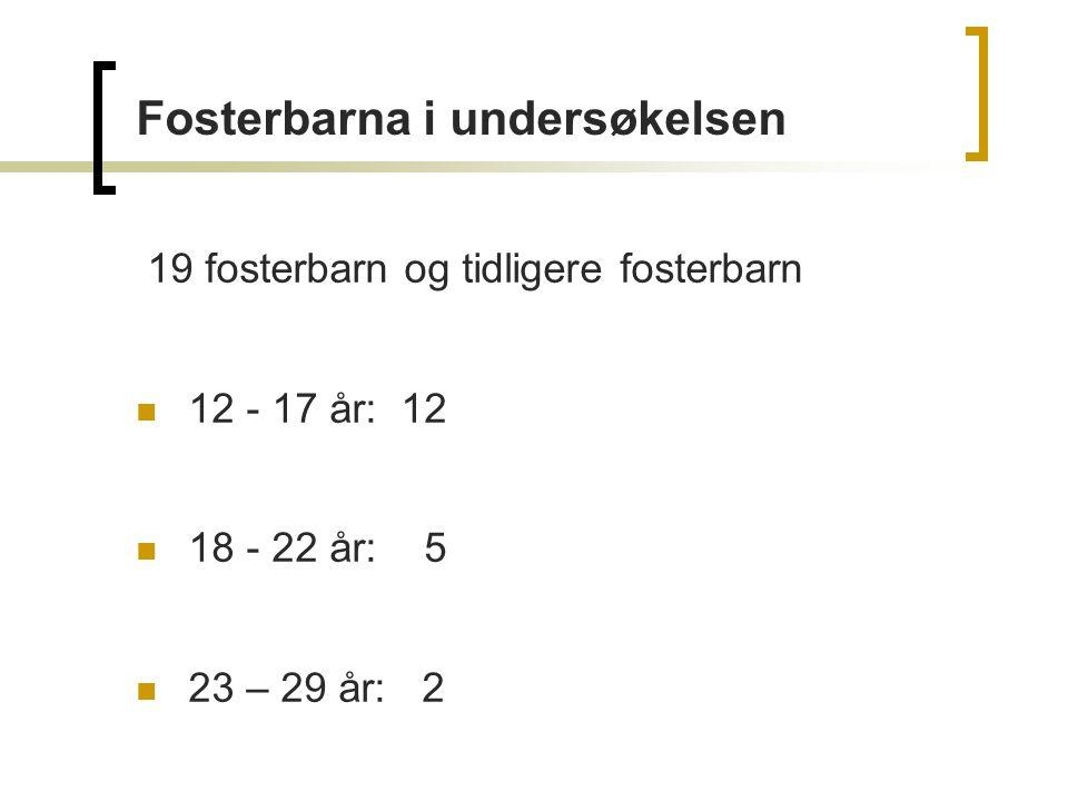 19 fosterbarn og tidligere fosterbarn 12 - 17 år: 12 18 - 22 år: 5 23 – 29 år: 2 Fosterbarna i undersøkelsen