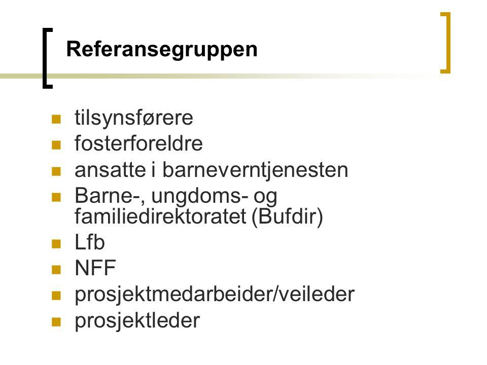 Referansegruppen tilsynsførere fosterforeldre ansatte i barneverntjenesten Barne-, ungdoms- og familiedirektoratet (Bufdir) Lfb NFF prosjektmedarbeide